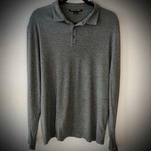 Michael Kors Gray Long Sleeve Polo Style Shirt
